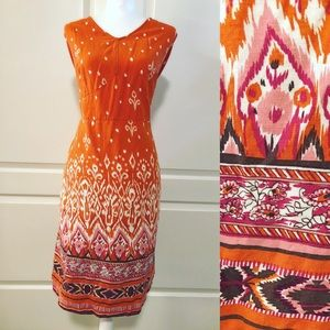 Avenue Orange Pink Brown Red Dress